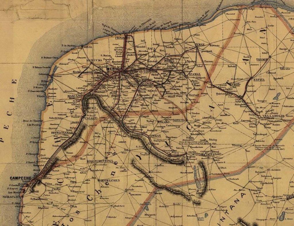 """""""Mapa de la península de Yucatán comprendiendo los estados de Yucatán, Campeche y el territorio de Quintana Roo"""" (Detalle). 1907."""