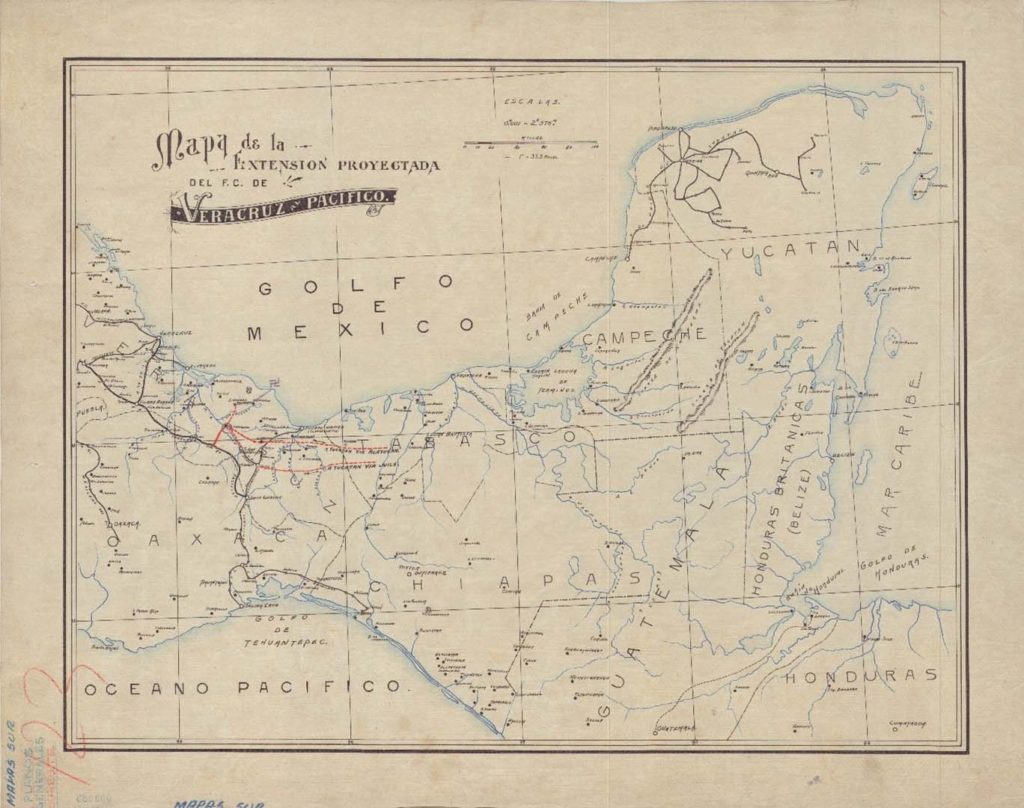 Mapa de la extensión proyectada del F.C. de Veracruz-Pacífico. Ca. 1910.