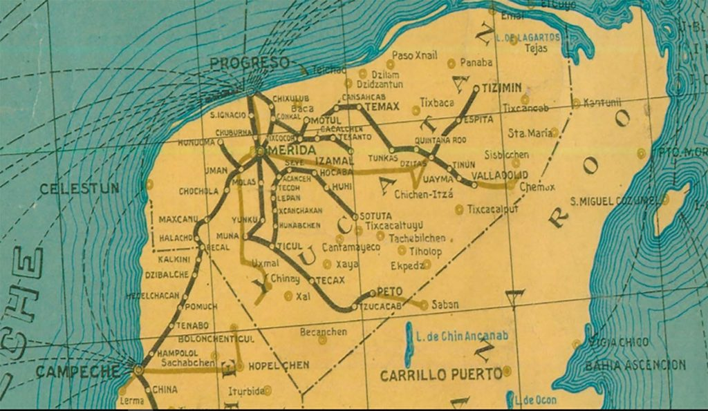 Fragmento del mapa de la red ferroviaria en México